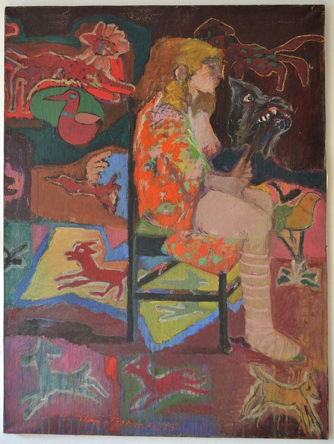 Girl Painting - Noa With Animal Mask by Galya Tarmu
