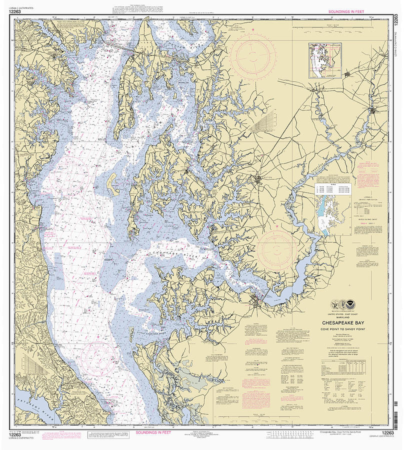 Chesapeake Bay, Cove Point to Sandy Point Nautical Chart 12263 by Paul and Janice Russell