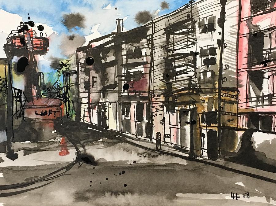 Coffee Shop Art Charlotte NC Art City Wall Art Atherton Mill Charlotte NC Original Architecture Wall Art Original Painting