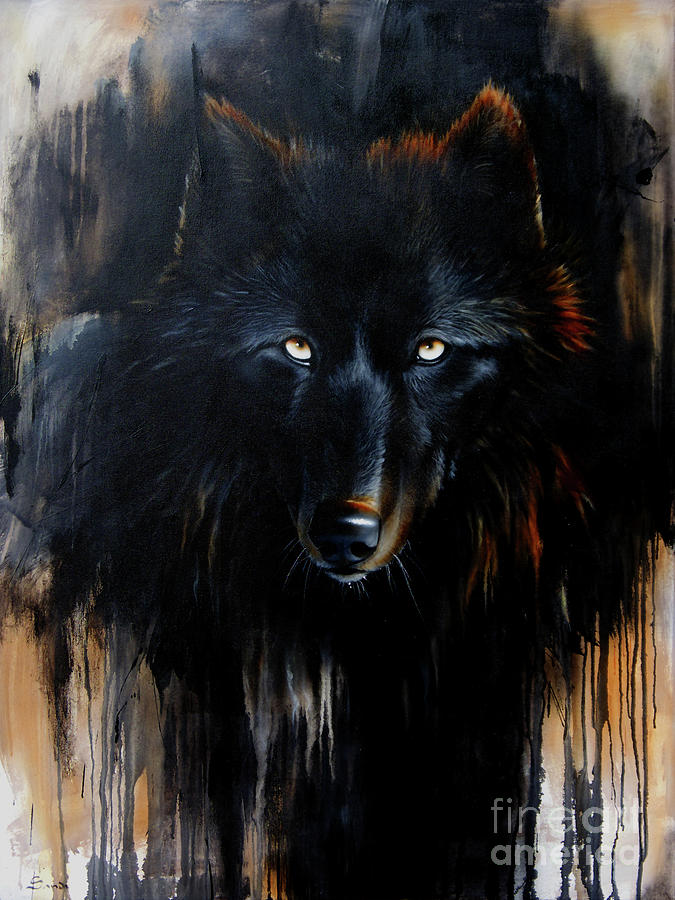 Wolf Painting - Noir by Sandi Baker