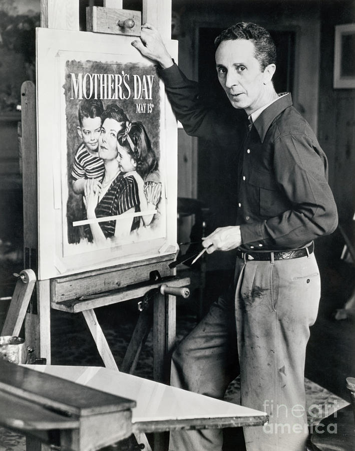 Norman Rockwell Working On Mothers Day Photograph by Bettmann