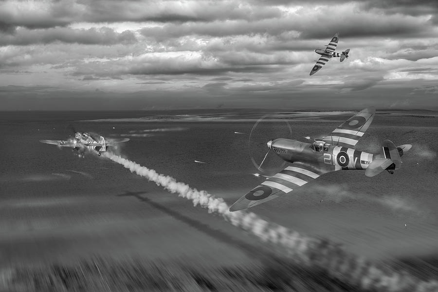 Normandy Spitfire attack BW version by Gary Eason