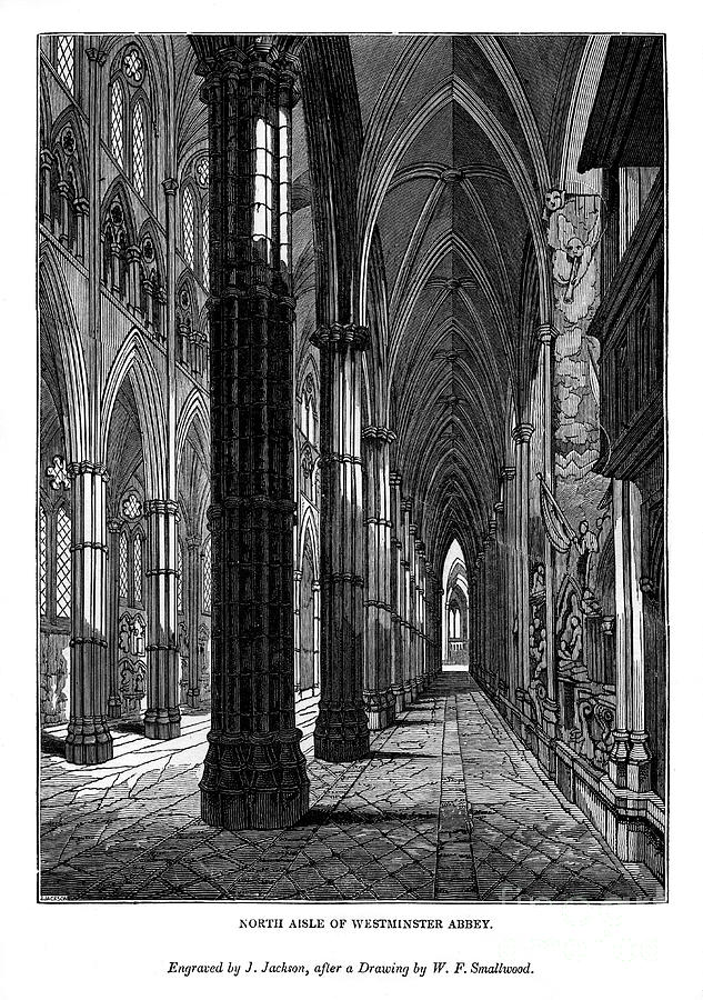 North Aisle Of Westminster Abbey, 1843 Drawing by Print Collector