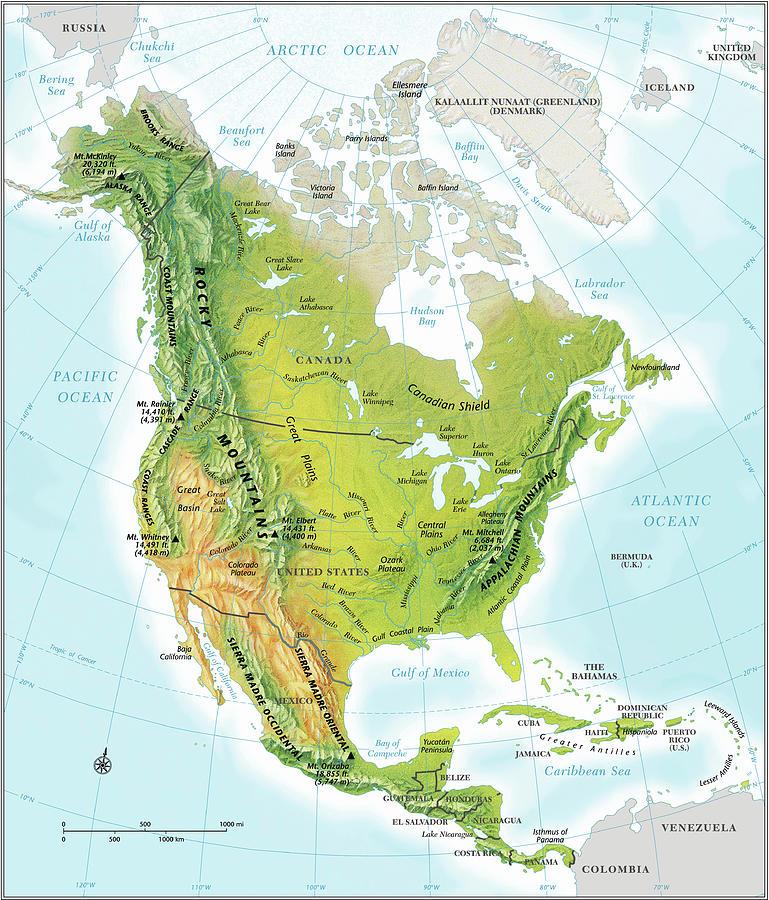 North America Continent Map, Relief Digital Art by Globe Turner, Llc
