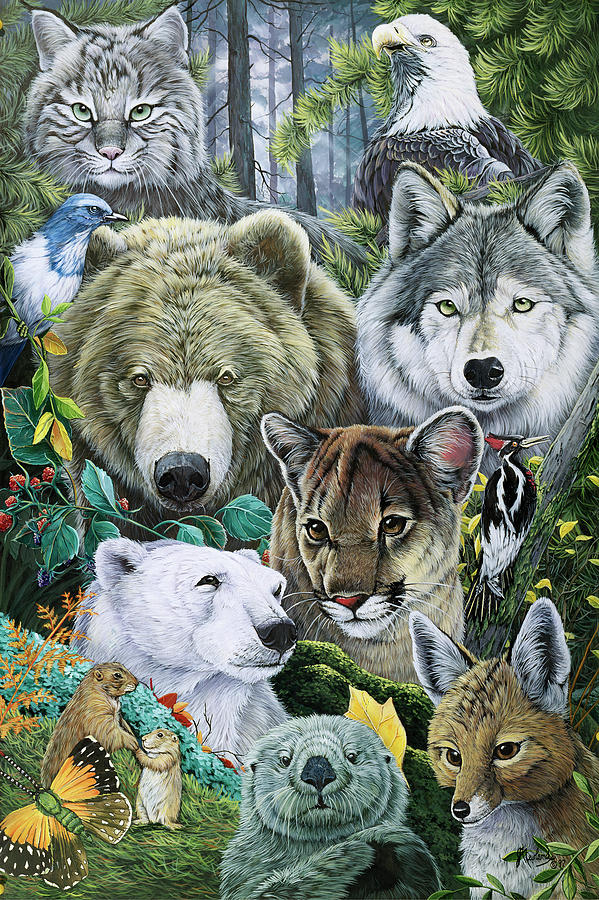 Animals Painting - North Americas Endangered by Jenny Newland