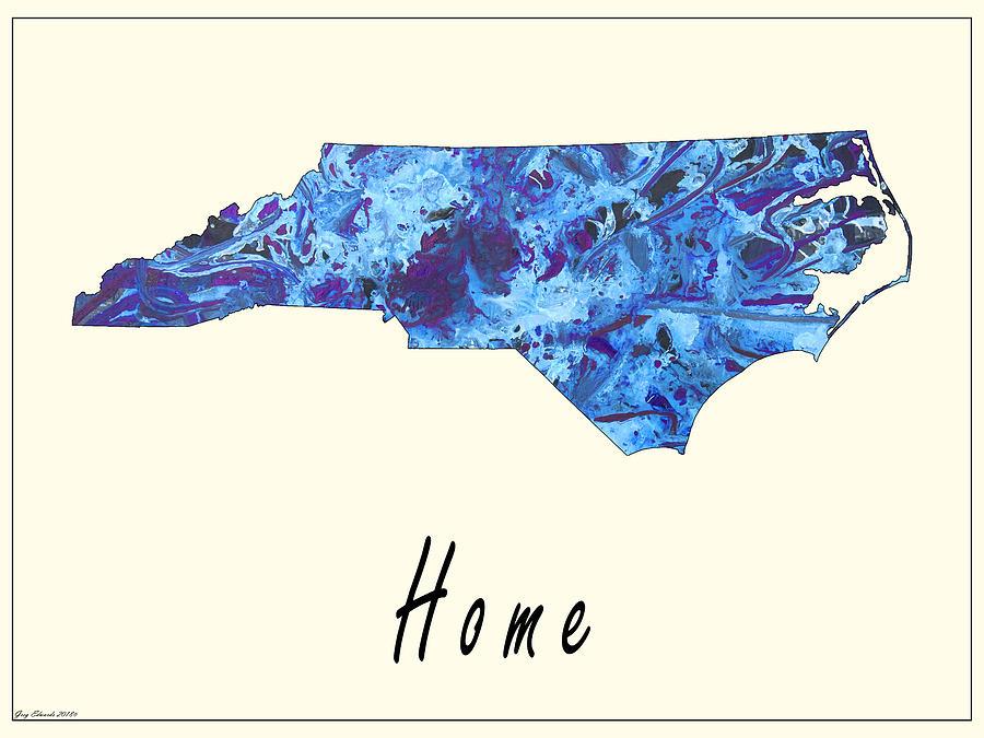 North Carolina Art Map Style 10 by Greg Edwards