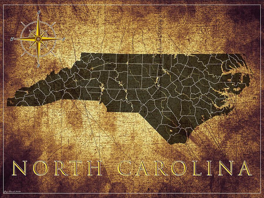 North Carolina Art Map Style 12 by Greg Edwards