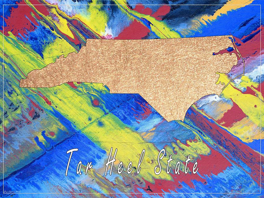North Carolina Art Map Style 9 by Greg Edwards