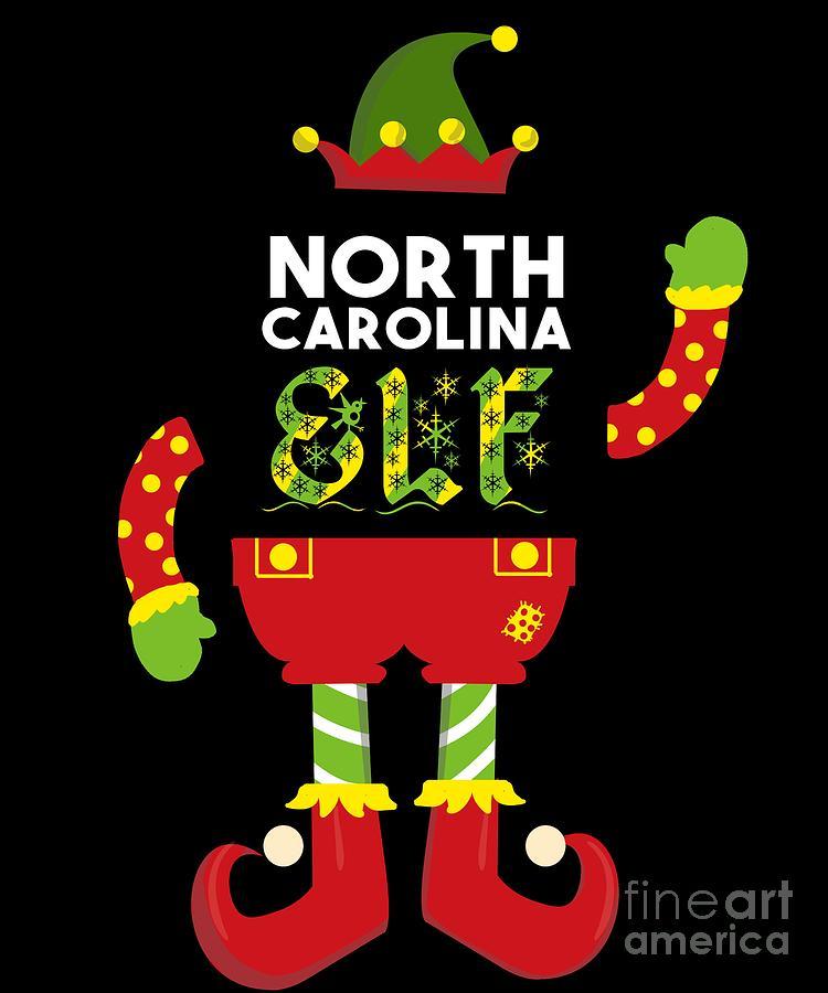 Adventure Digital Art - North Carolina Elf Xmas Elf Santa Helper Christmas by TeeQueen2603
