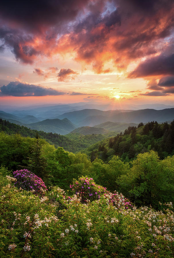North Carolina Great Smoky Mountains Sunset Landscape Cherokee Nc Photograph