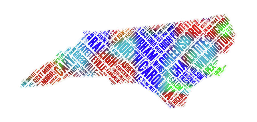 North Carolina State Word Art Map Of Cities