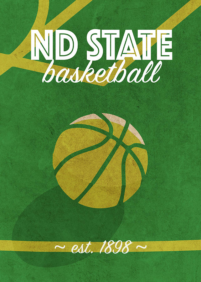 North Dakota State Mixed Media - North Dakota State College Basketball Retro Vintage University Team Poster Series by Design Turnpike