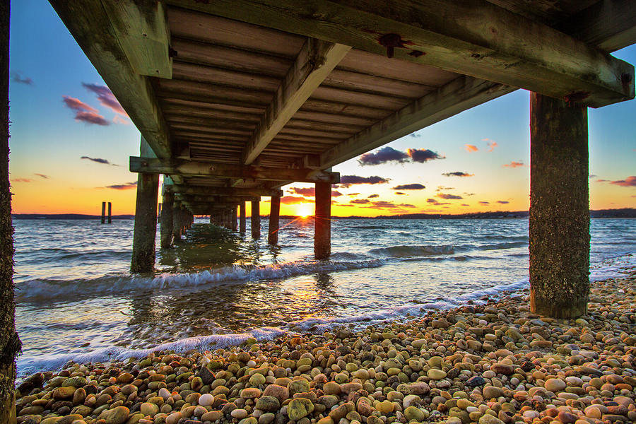 North Fork Sunset Under the Dock by Robert Seifert