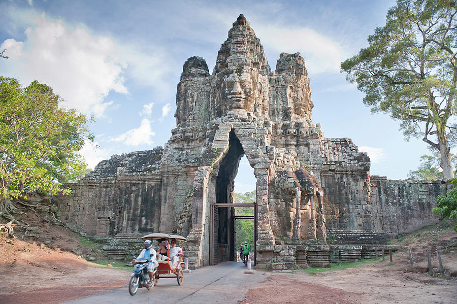 Southeast Asia Photograph - North Gate, Angkor Thom, Angkor, Unesco by Andrew Stewart / Robertharding