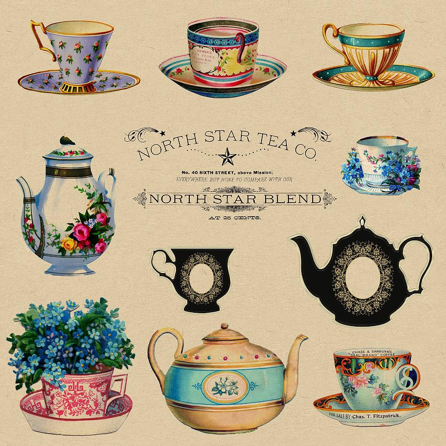 North Star Tea Co Tea Advertisement Painting By Shabby Chic And Vintage Art