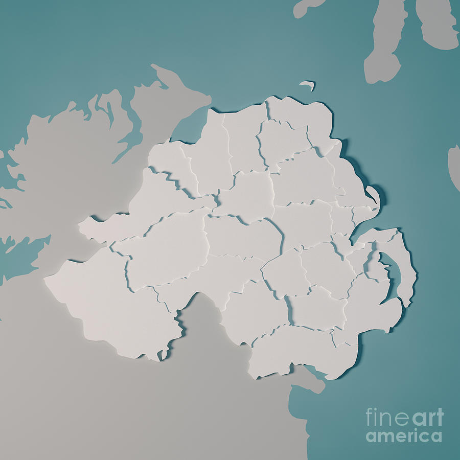 Map Of Ireland 3d.Northern Ireland Country Map Administrative Divisions 3d Render By Frank Ramspott