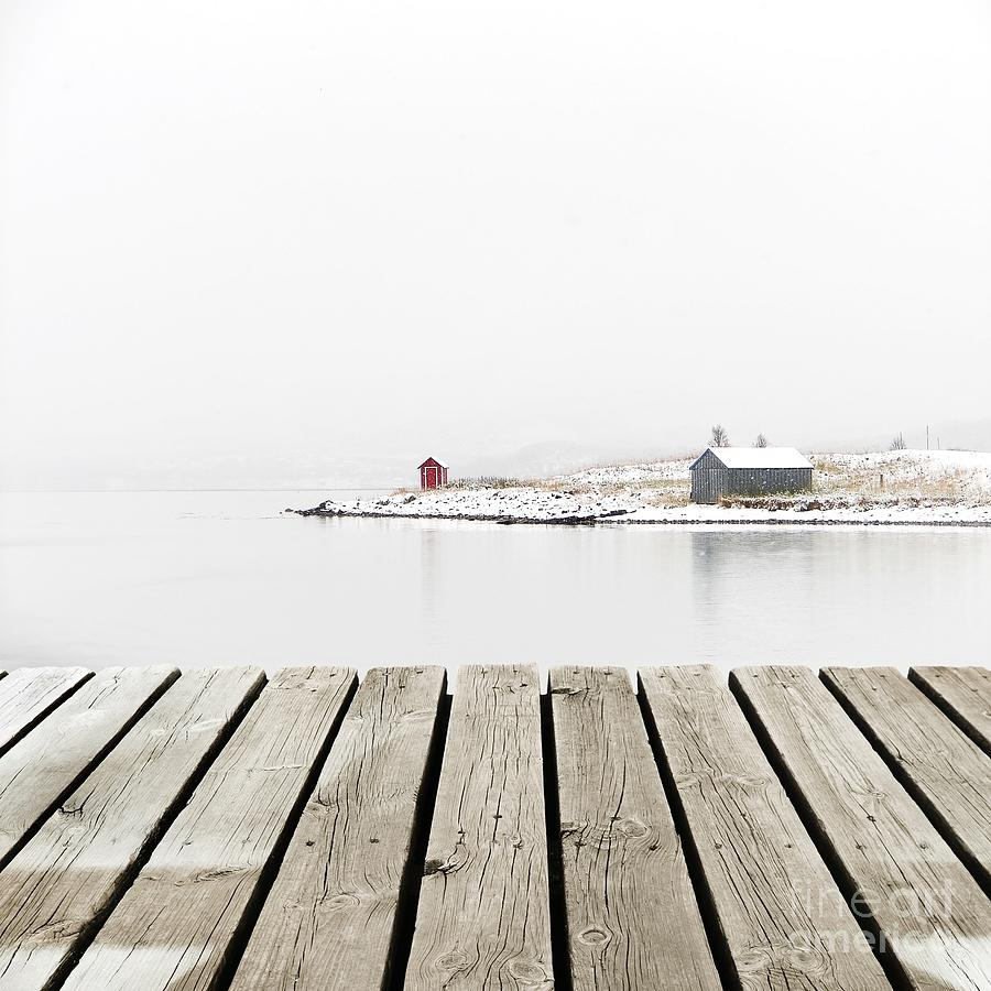 Country Photograph - Norway Cottage On Winter Coast With by Michal Bellan