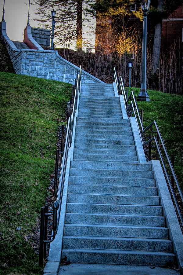 Norwich University Centennial stairs with Dates by Jeff Folger