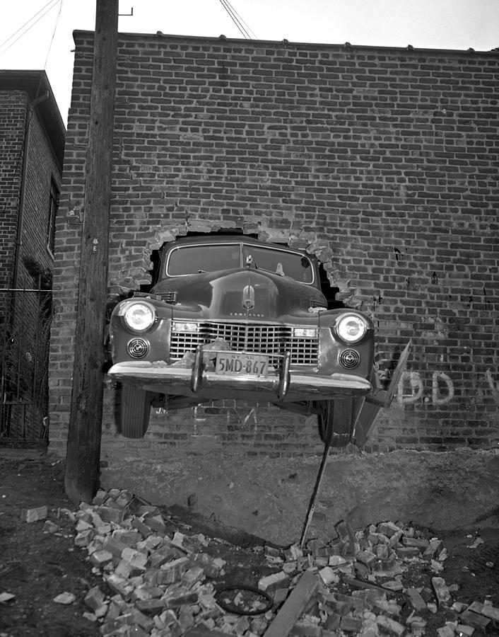 Nose Of A Nice New Cadillac Is Poked Photograph by New York Daily News Archive