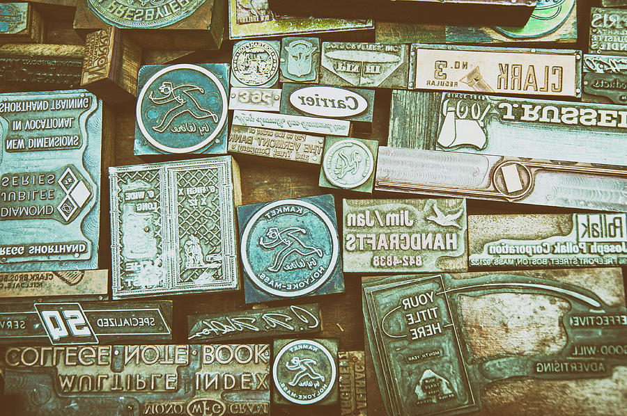 Nostalgia Set Of Old Rubber Stamps Photograph