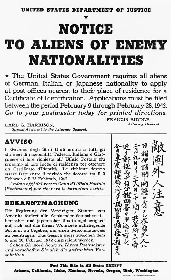 Notice To Aliens Of Enemy Nationalities Photograph by Bettmann