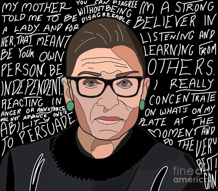 Notorious RBG with Quotes Digital Art by Madison Ann