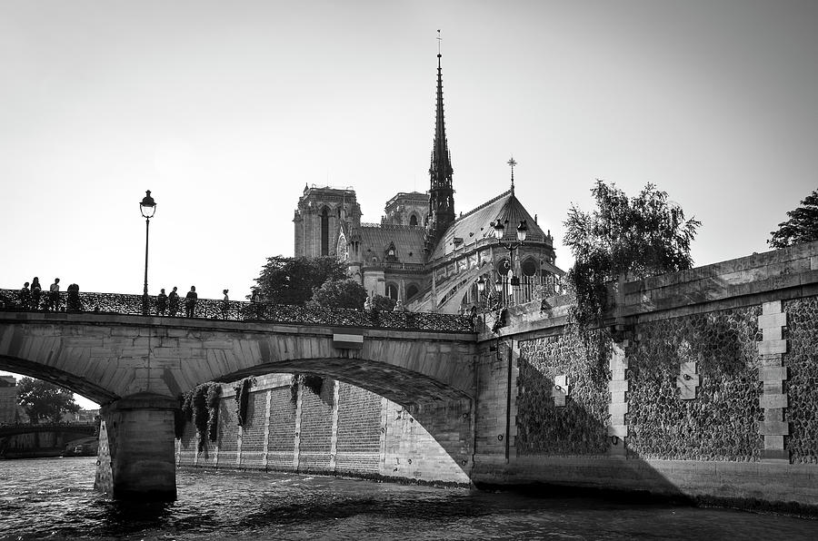 Notre Dame and Pont de l'Archeveche covered with 'love padlocks' BW by RicardMN Photography