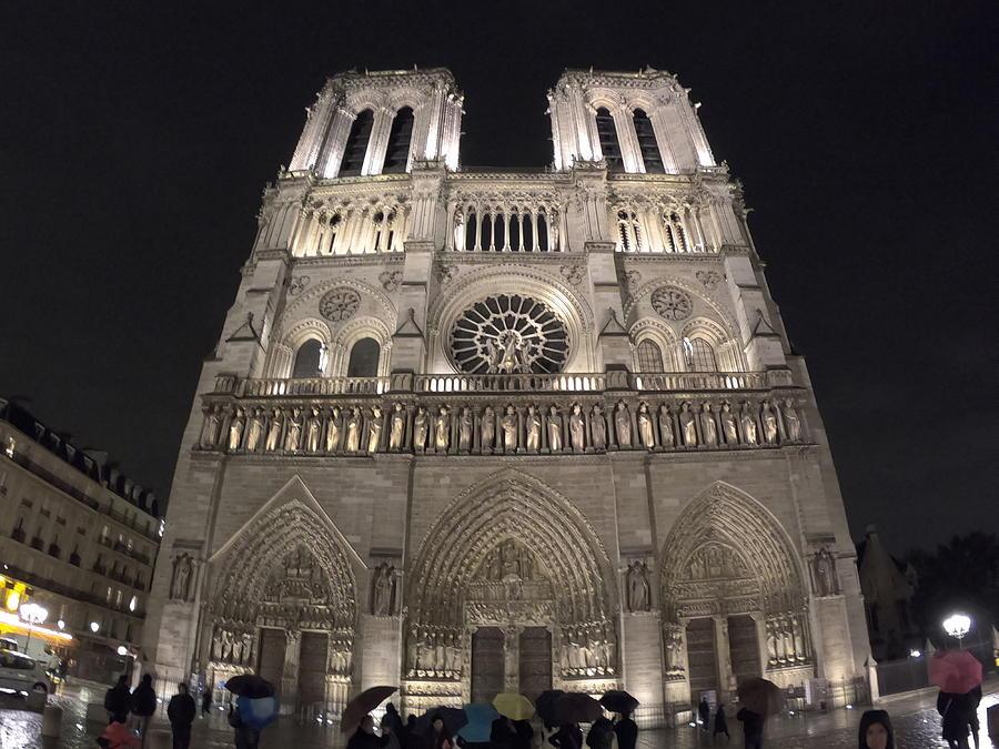 Notre Dame At Night - Paris - France Photograph