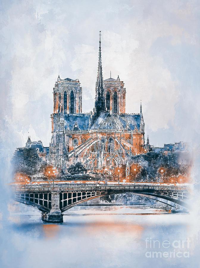 Notre Dame Cathedral in Paris. by Andrzej Szczerski