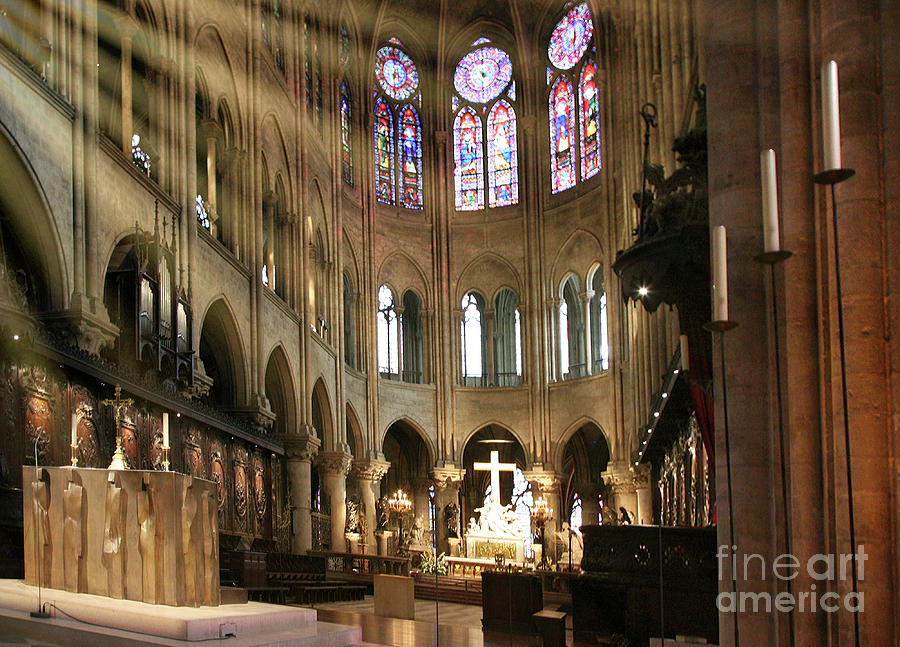Notre Dame Cathedral Interior Color  by Chuck Kuhn