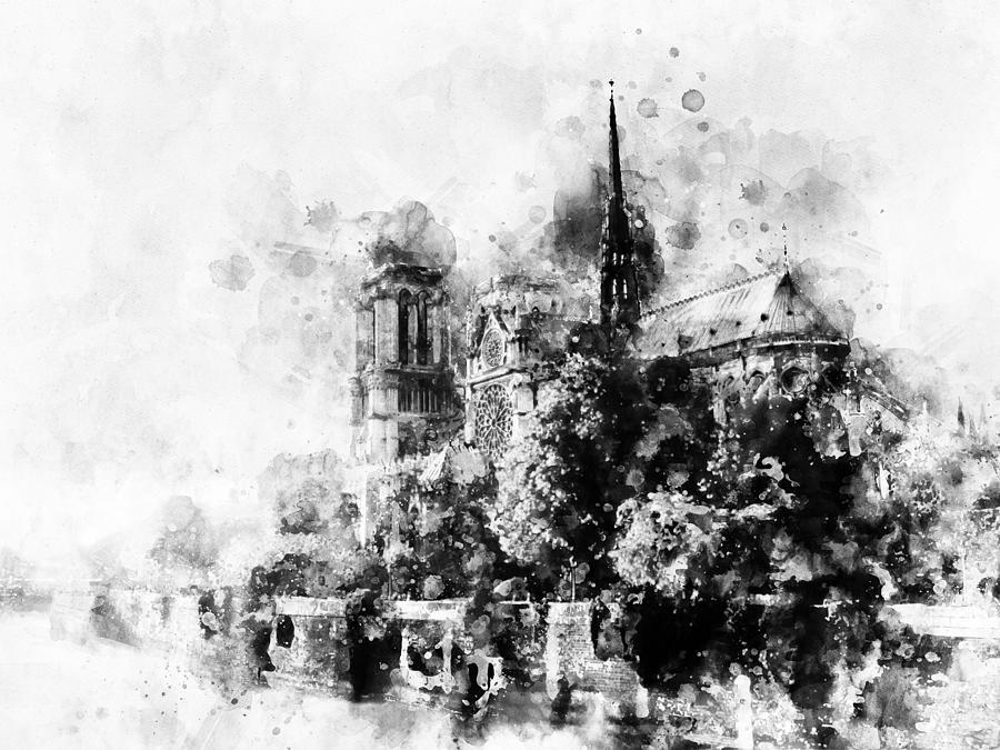 Notre Dame De Paris Black And White Watercolor 05 Painting By Stockphotosart Com