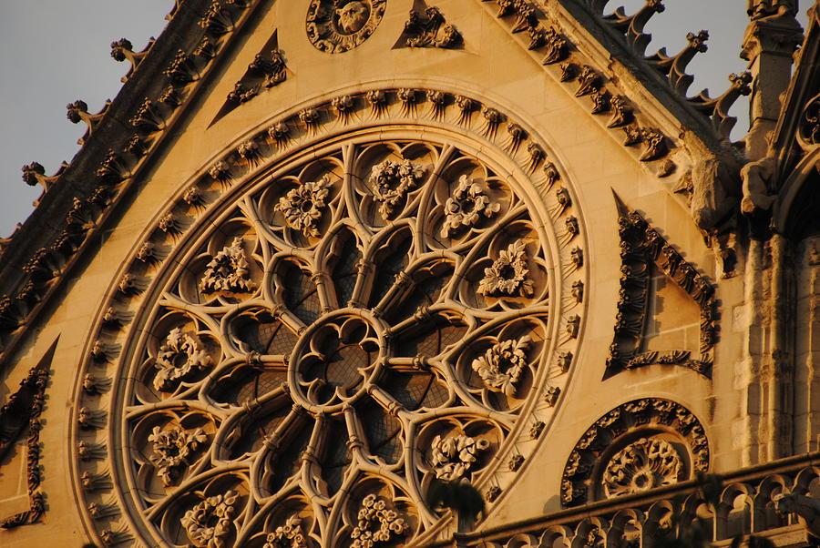Notre Dame Paris Facade Rose Window by Jacqueline M Lewis