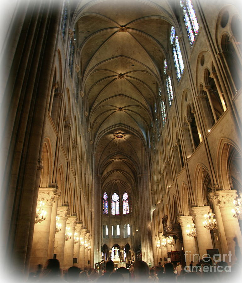 Notre Dame Interior Paris  by Chuck Kuhn