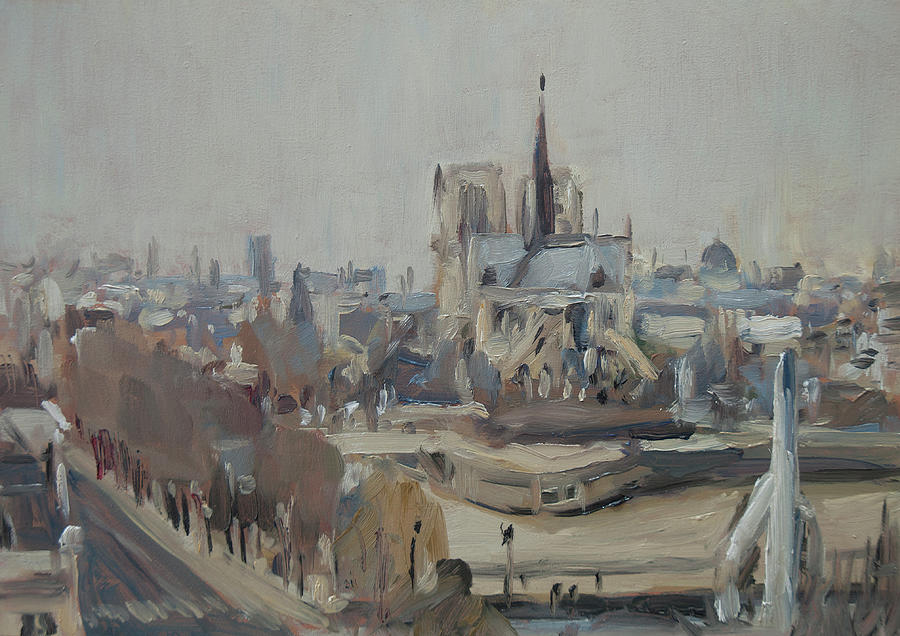 Notre Dame of Paris Winter III by Nop Briex
