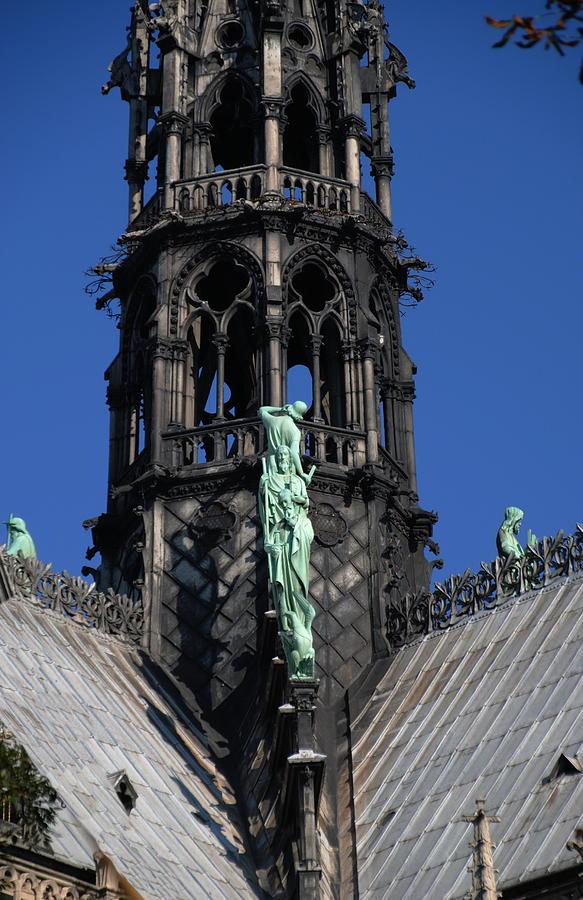Notre Dame Paris - Spire, Roof, Statuary by Jacqueline M Lewis