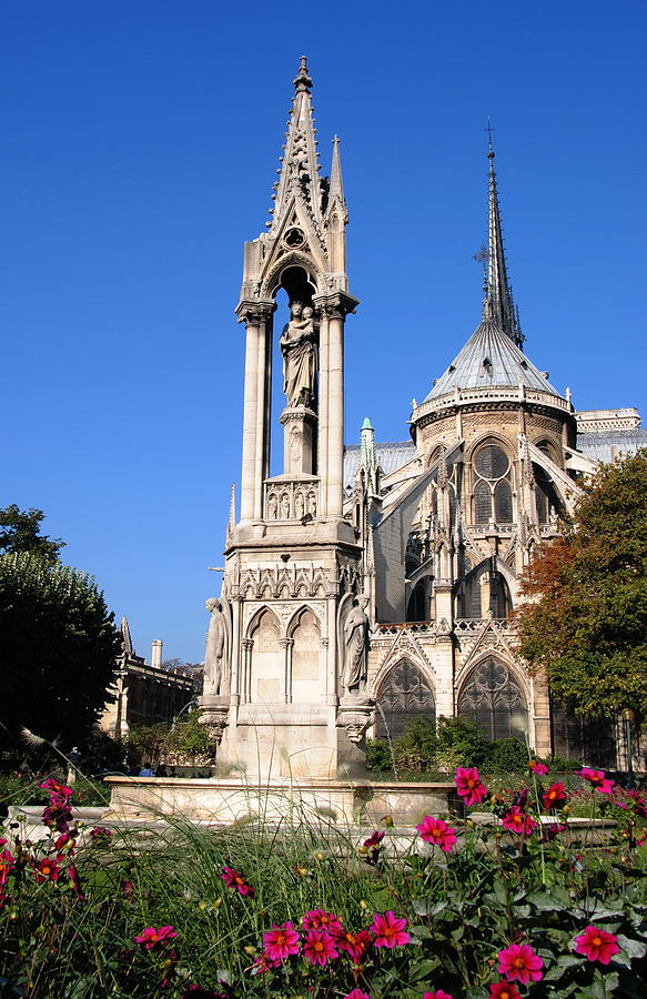 Notre Dame Paris with Madonna and Child by Jacqueline M Lewis