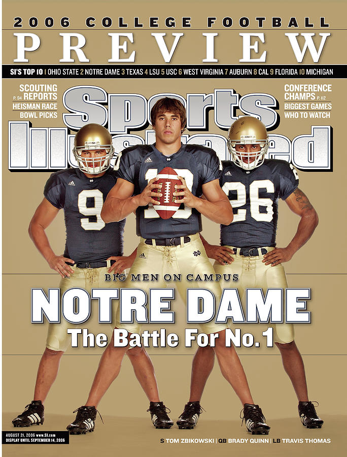 Notre Dame Qb Brady Quinn, Travis Thomas, And Tom Zbikowski Sports Illustrated Cover Photograph by Sports Illustrated