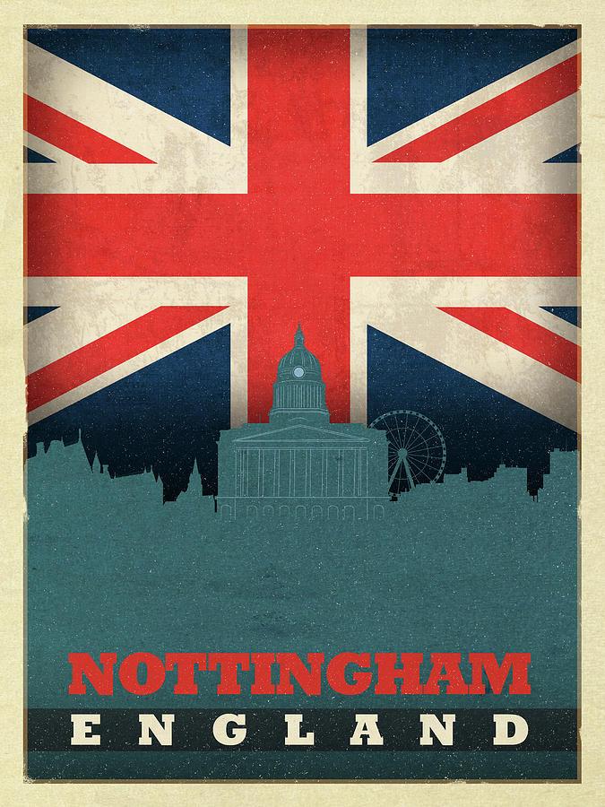Nottingham Mixed Media - Nottingham England City Skyline Flag by Design Turnpike