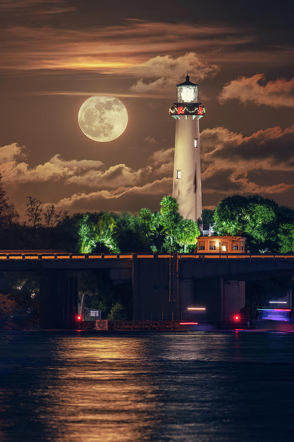 Jupiter Photograph - November 2018 Fullmoon Rise Jupiter Florida Lighthouse by Kim Seng