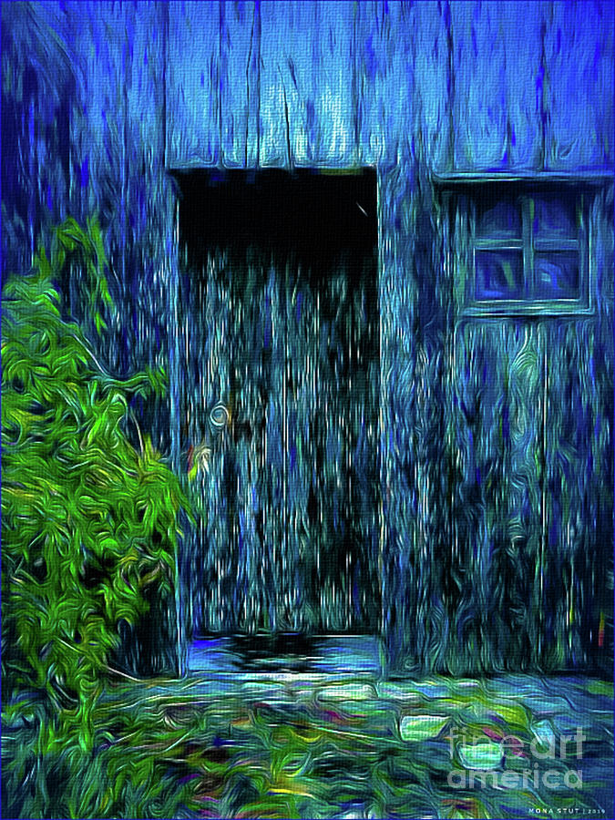 Nowhere Somewhere Blue Door Mixed Media
