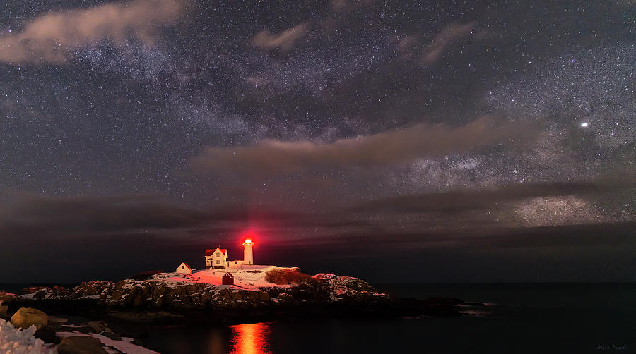 Nubble Light at Night by Mark Papke