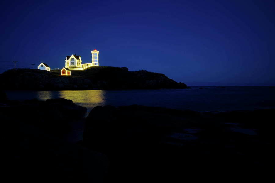 Nubble Lighthouse Photograph - Nubble Light - Night Light by Luke Moore