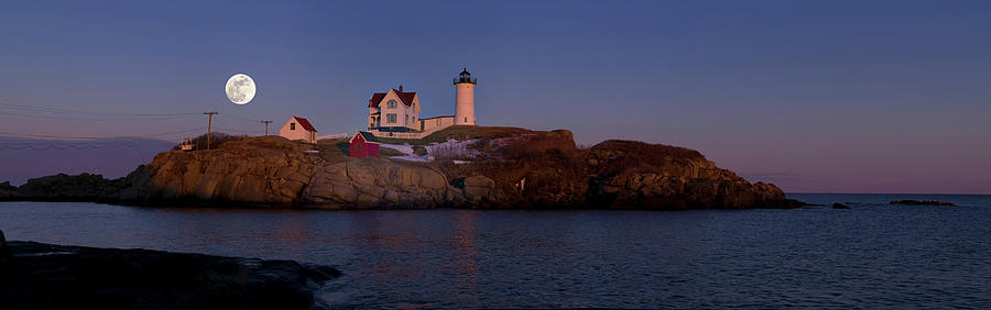 Nubble Light Pano With Full Moon Rising Photograph by Www.cfwphotography.com