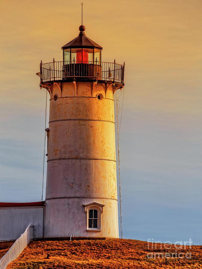Sunset Photograph - Nubble Light York Maine Sunset by Edward Fielding