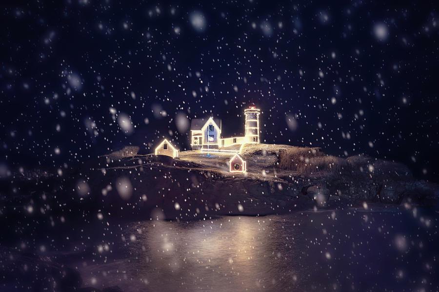 Nubble Lighthouse in Snow - York, Maine by Joann Vitali