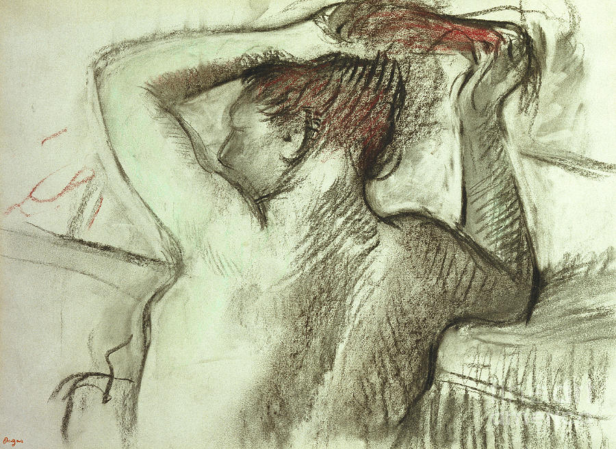 Nude Combing her Hair by Edgar Degas
