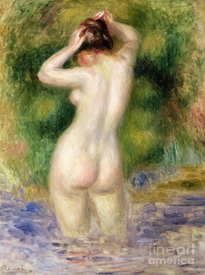 Stream Painting - Nude Wading, Circa 1880 by Pierre Auguste Renoir