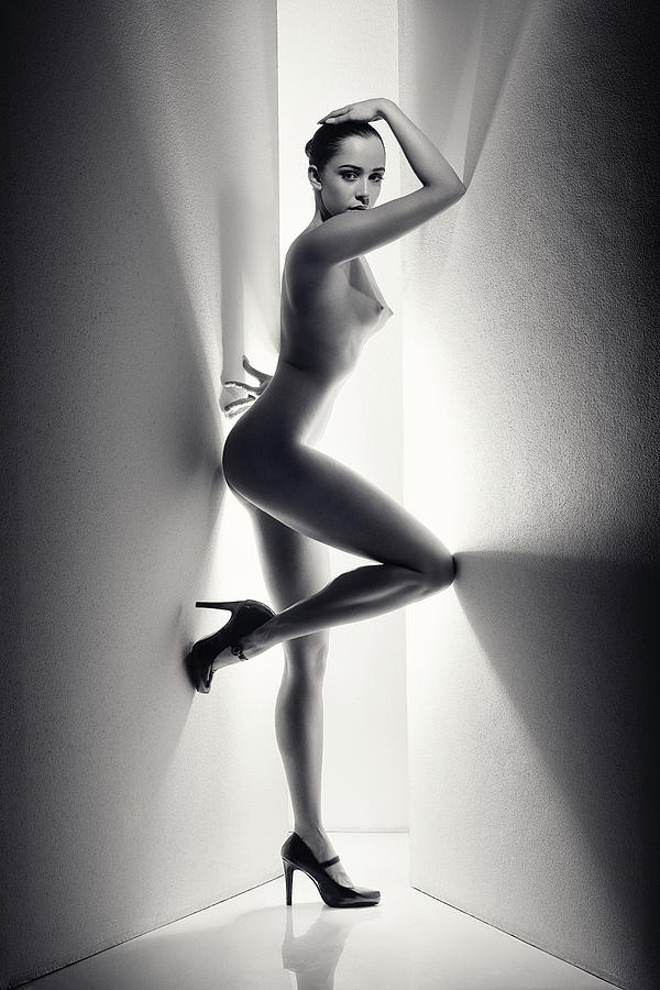 Nude Woman Between Walls Photograph