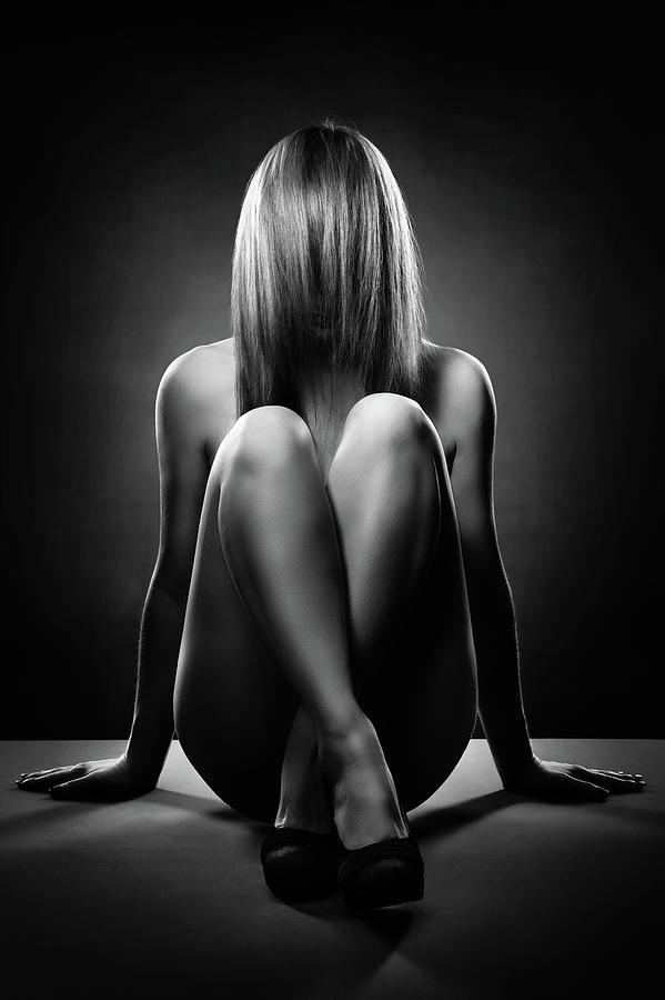 Nude Woman With Hidden Face Photograph