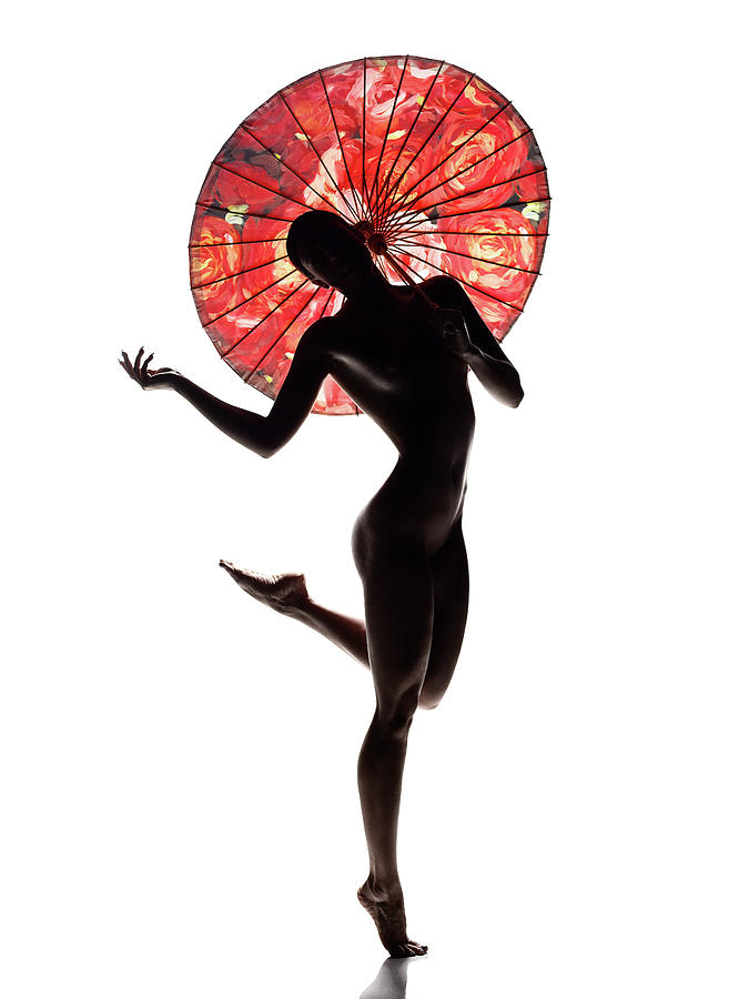Woman Photograph - Nude woman with red parasol by Johan Swanepoel